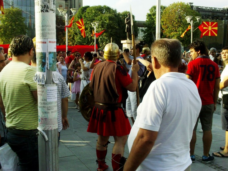 PICT1630 Macedonia Name Issue: Nationalistic slogans and Kitsch Parade in FYROMs celebrations for Independence Day