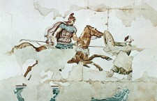 KINCH TOMBDrawing based on a wall painting with battle scene from the Kinch Tomb 310 290 BC Lefkadia. 225x145 Albania ranks low in World Bank Getting Electricity list