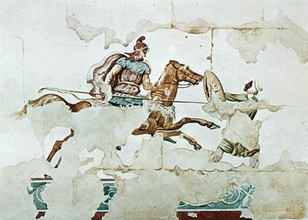 KINCH TOMBDrawing based on a wall painting with battle scene from the Kinch Tomb 310 290 BC Lefkadia. Macedonia : The Kinch Tomb