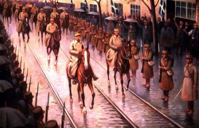Greek army liberating Thessaloniki