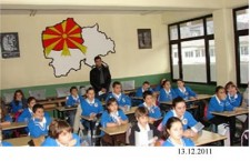 "Irredentist map of ""United Macedonia"" in a primary school of FYROM"