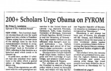 Massive number of Scholars Urge to President Obama on World Newspapers