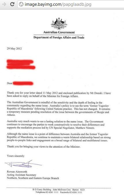 australia fyrom Νέα Σφαλιάρα από Αυστραλία στους Σκοπιανούς : Το Όνομα σας είναι FYROM !!!