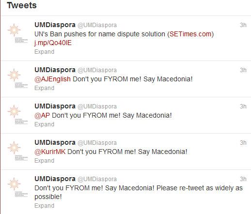 diaspora tweets ceremony  Έξαλλοι οι Σκοπιανοί για το FYROM στην τελετή έναρξης!!!