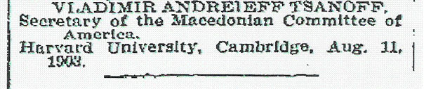 tsannoff1 1903   Επιστολή Διαμαρτυρίας Σλάβων της Μακεδονίας στην New York Times : Eίμαστε Βούλγαροι !!!