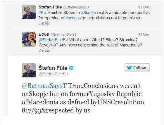 fule twitter Επιλεκτική ευαισθησία υπέρ των Σκοπιανών από τον επίτροπο της ΕΕ, Στέφαν Φούλε