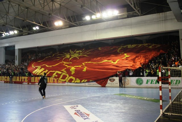 pano1 Outrageous Provocation: Irredentist Banner exhibited by FYROMs fans at International Handball match