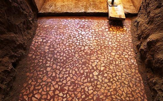 Excavation work at Amphipolis reveals section of marble mosaic floor